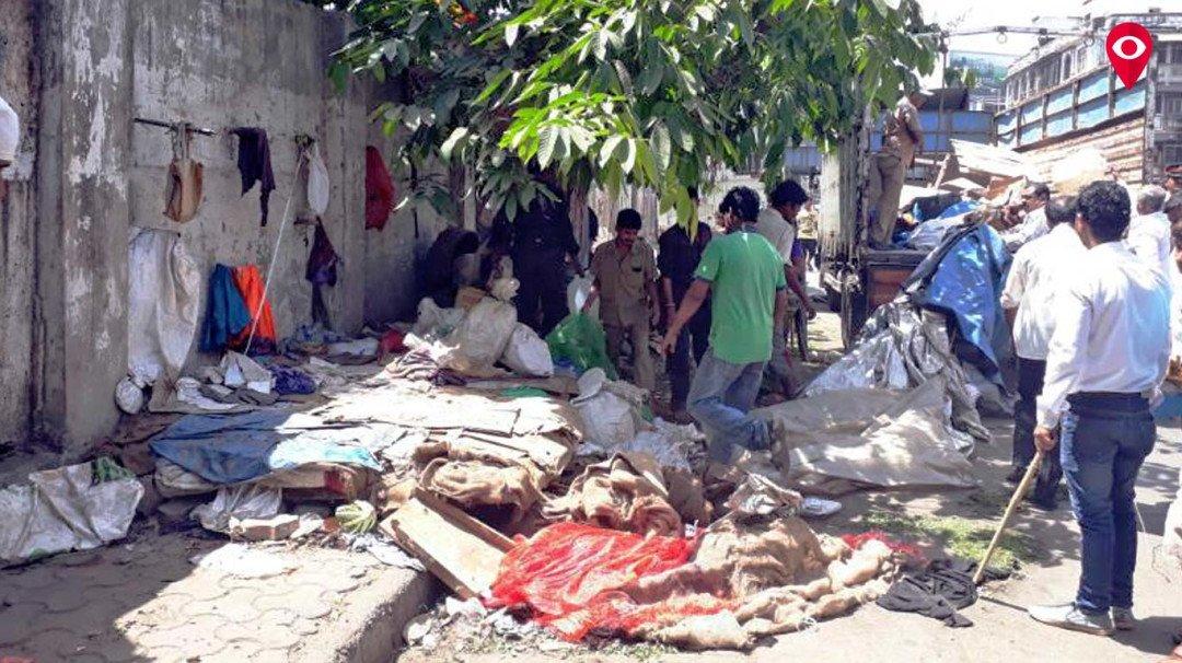 BMC demolished 80 illegal hutments at Senapati Bapat road