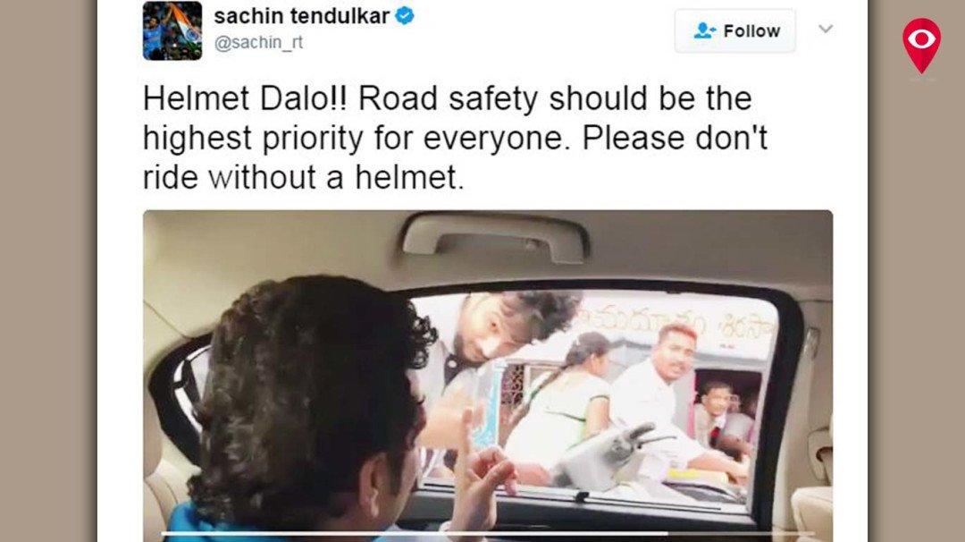 Sachin Tendulkar stops bikers in Hyderabad, says 'Helmet Dalo!'
