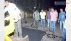 Corporator inspects road construction
