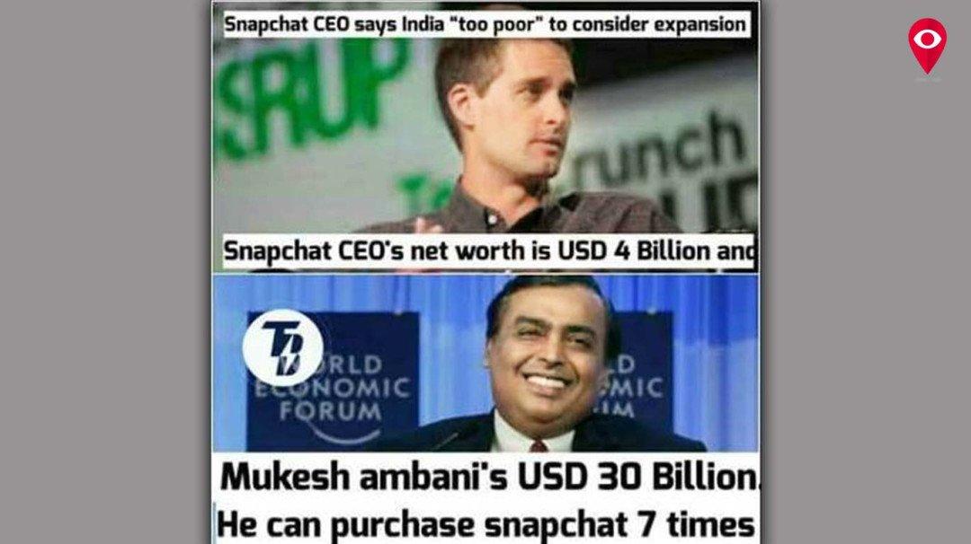 'गरीब देश' भारत ने बनाया स्नैपचैट को गरीब
