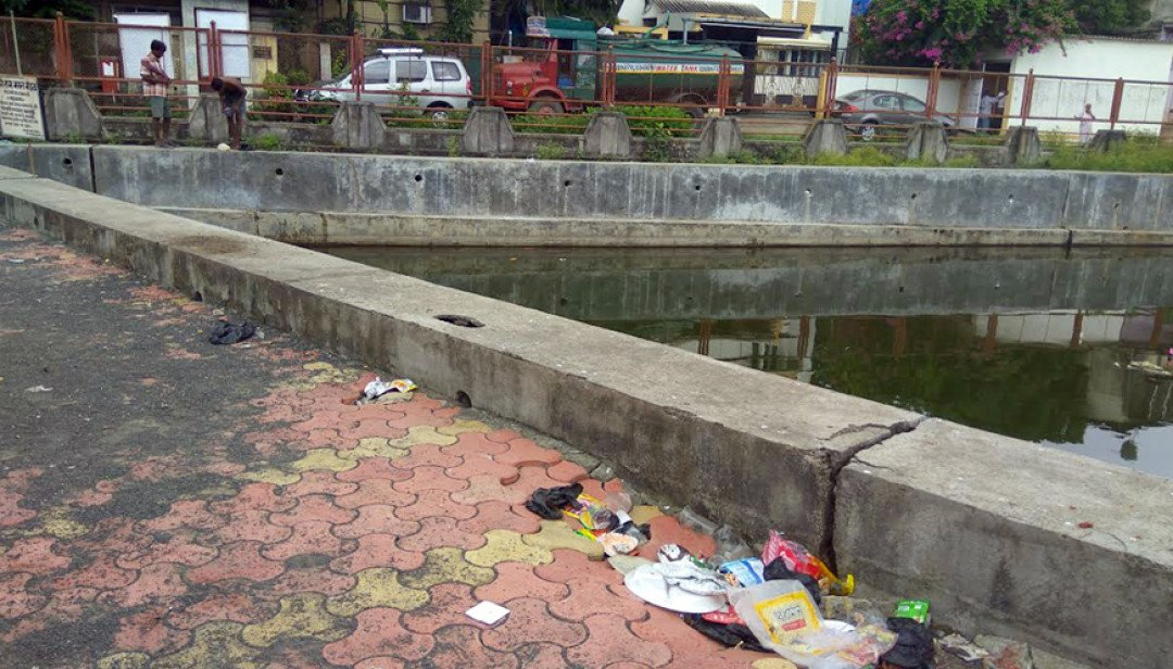 Garbage waste near Fish pond