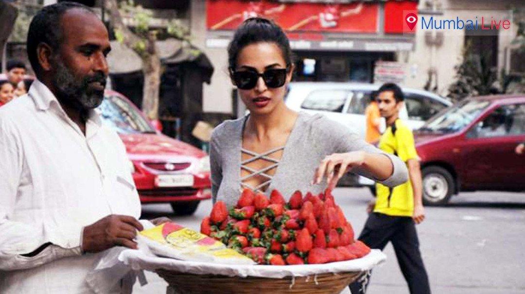 मलायकाचं स्ट्रॉबेरीवाल्याला सरप्राईज