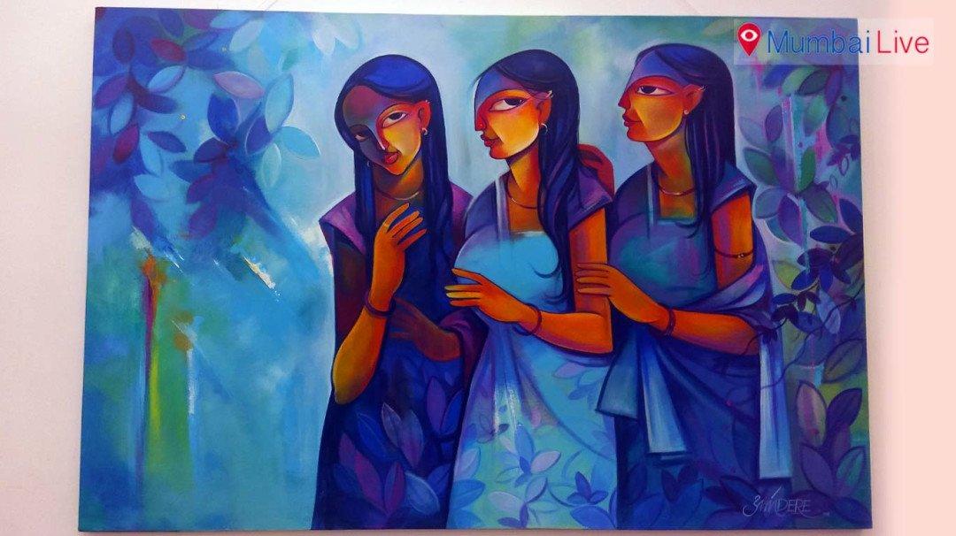 नेहरू सेंटरमध्ये चित्रांचे प्रदर्शन