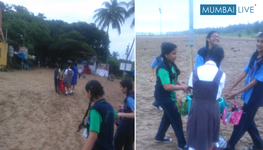 Dr.S.Radhakrishnan Vidalaya students cleaned Aksa Beach