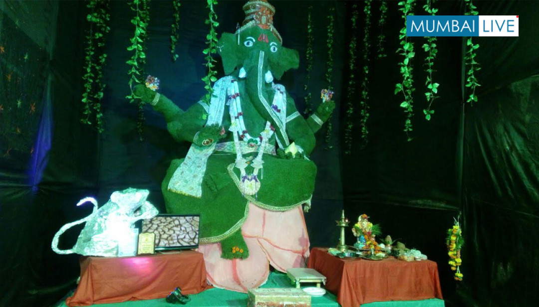 Global Warming message at Ganpati pandal