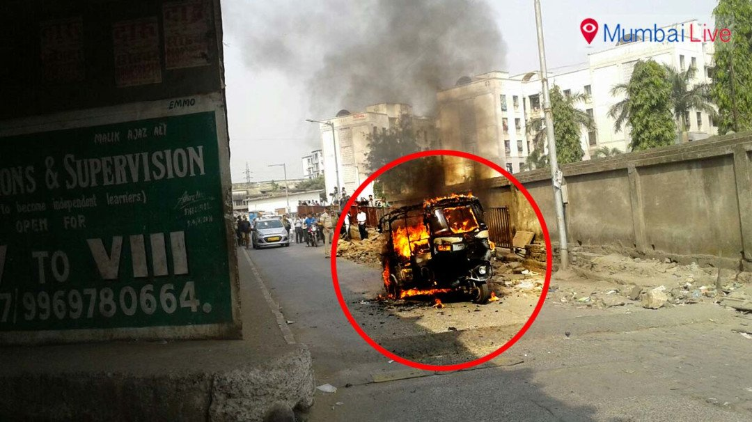 Auto-rickshaw catches fire