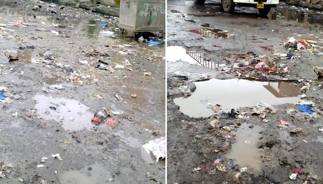 Mud-stricken Bandra Road