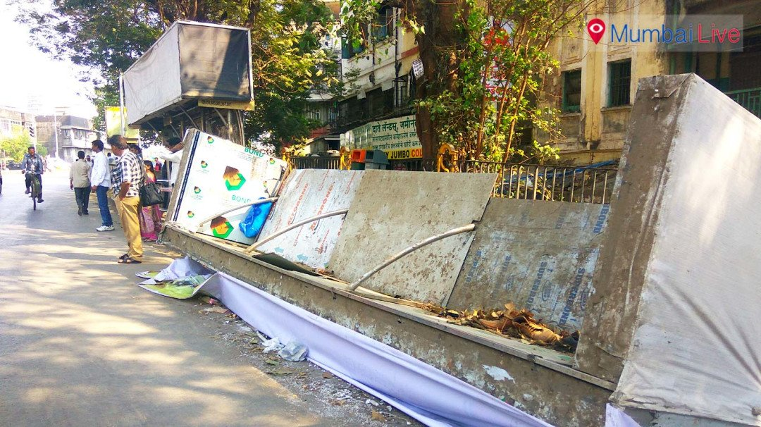 Bus stop collapses, a school girl injured