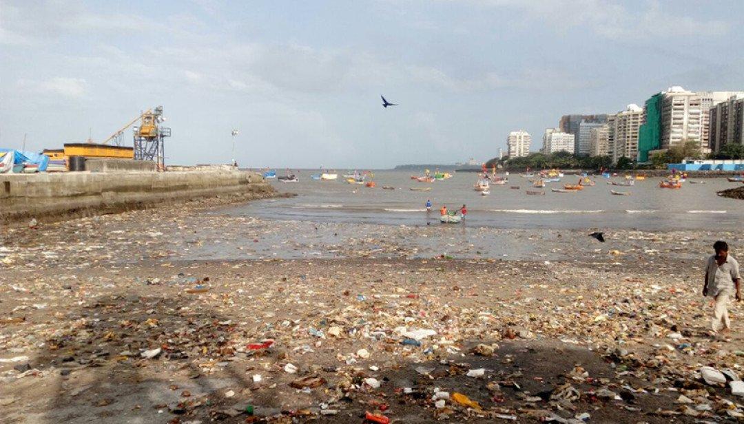 कुलाब्यातील समुद्रकिनारपट्टीवर कचऱ्याचे साम्राज्य