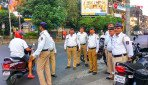 Though not on rally route, posse near Sena Bhavan