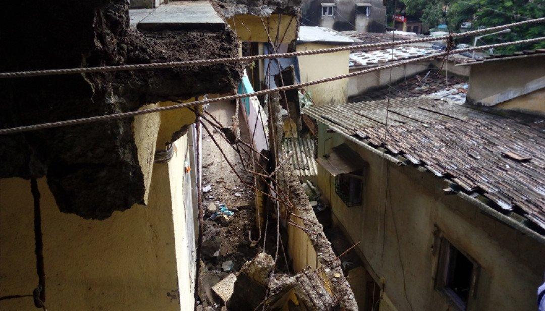 Balcony falls down