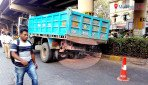 Truck stuck in gutter
