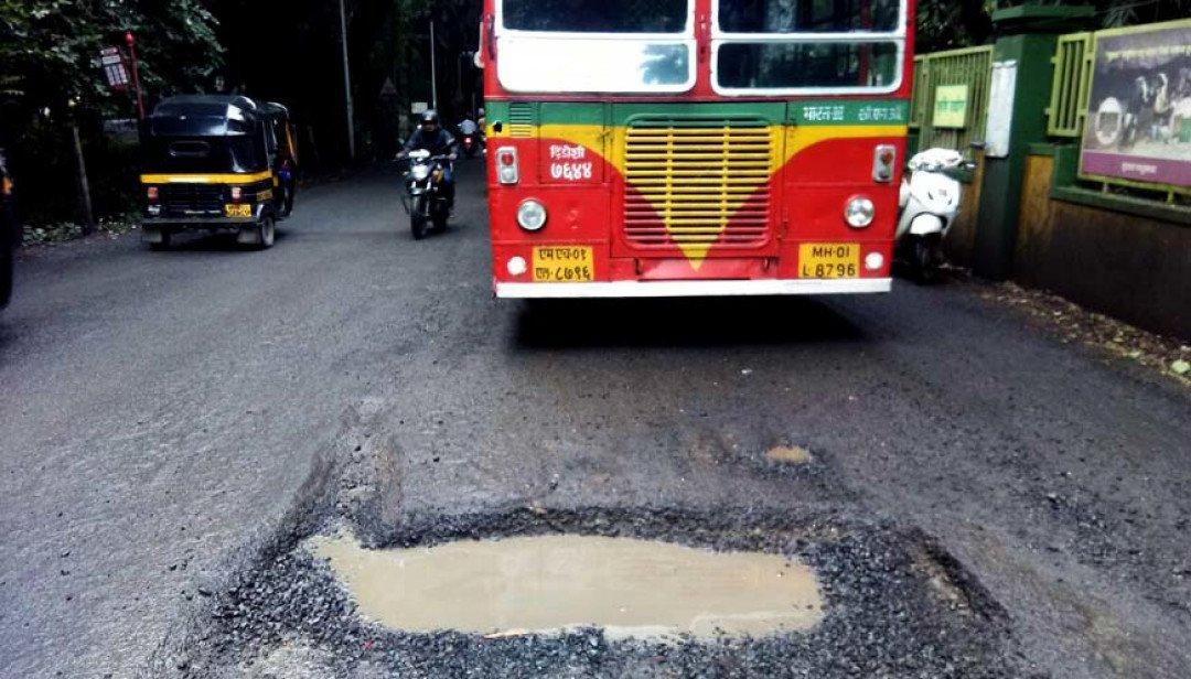 Crumbling Aarey road