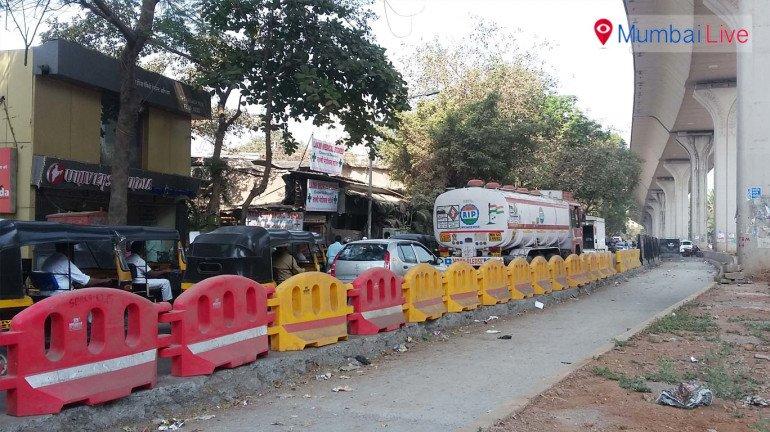Traffic jams due to road repair works