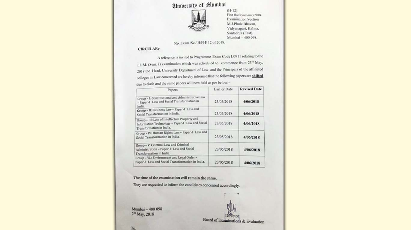 Llm students relieved mu postpones atkt sem 1 exams mumbai malvernweather Choice Image
