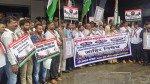 संविधान जलाने के खिलाफ कांग्रेस का विरोध प्रदर्शन, निरुपम रहें अनुपस्थित