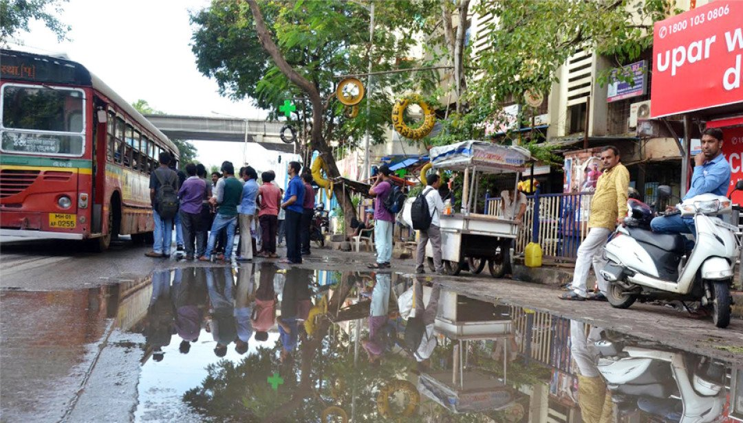 Water-logging at Bus Stop