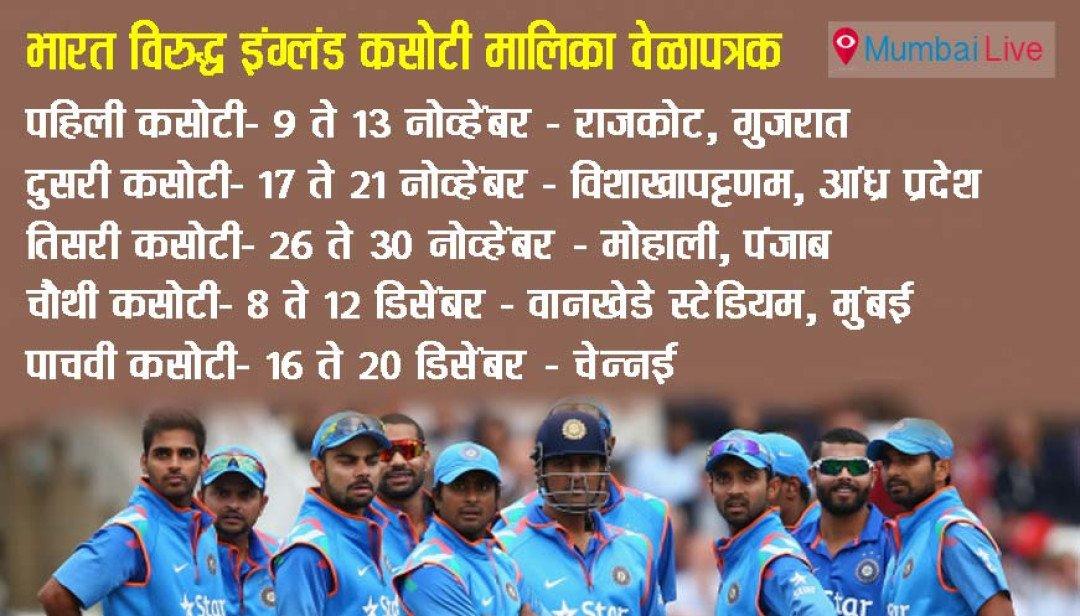 इंग्लैड टेस्ट के लिए टीम का चयन
