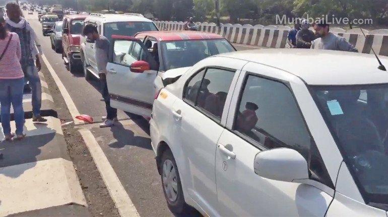 मुंबई में विचित्र सड़क हादसा: एक के पीछे एक कुल 7 गाड़ियां आपस में टकराईं