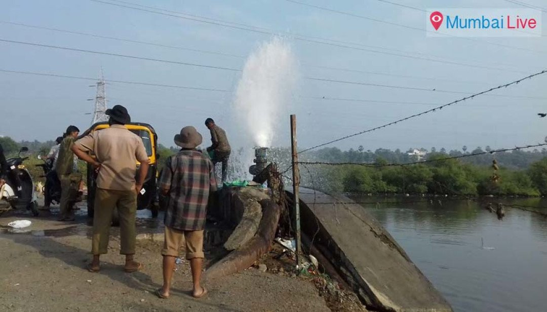 Water pipeline bursts at Marve road