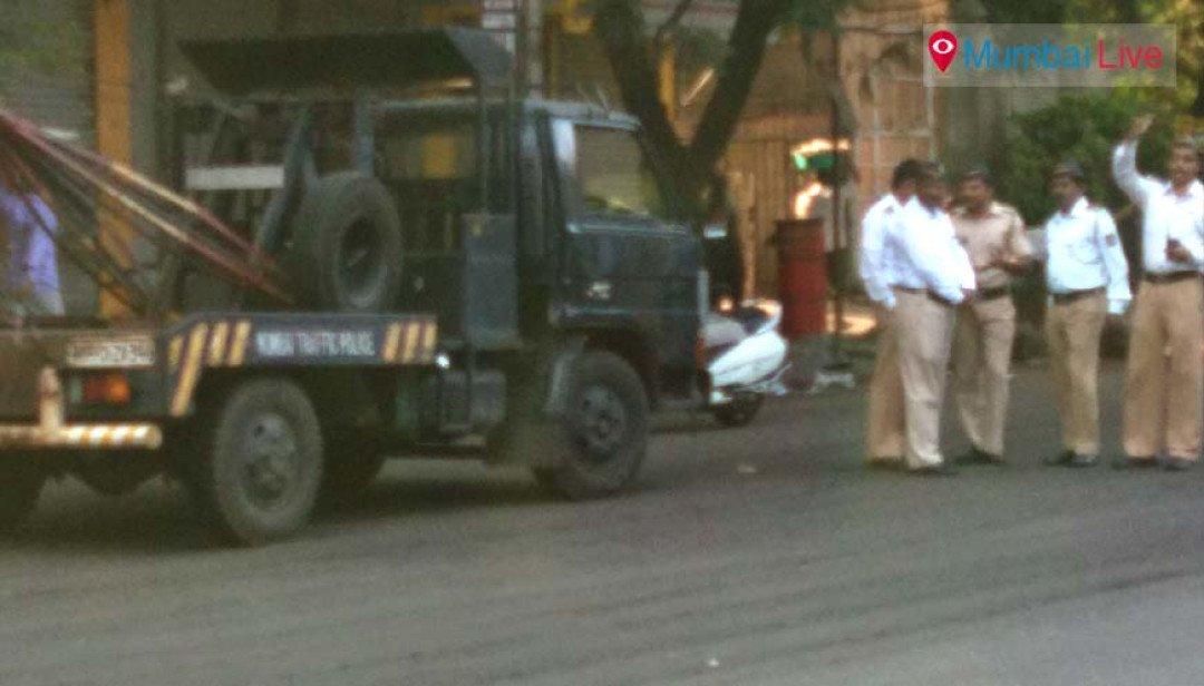 Heavy police bandobast near JJ Marg