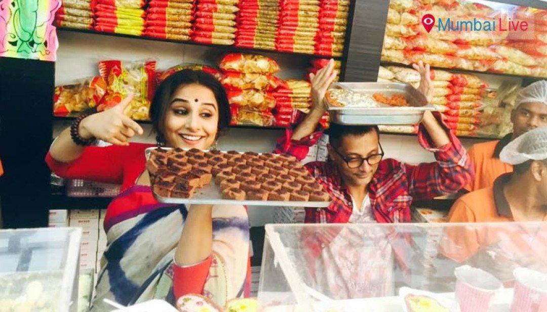 Vidya visits sweets shop in Kolkata