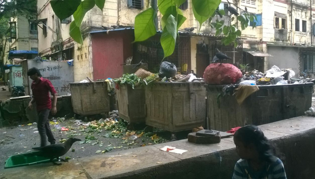 Waste stacked up @ Worli Police Line