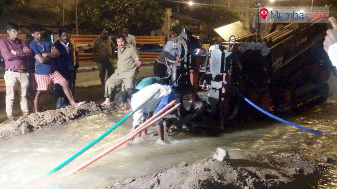 Water pipeline bursts in Worli